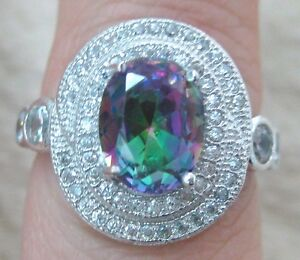 REAL-925-STERLING-SILVER-micro-setting-OVAL-MYSTIC-TOPAZ-women-039-s-RING-sz-L-N-P