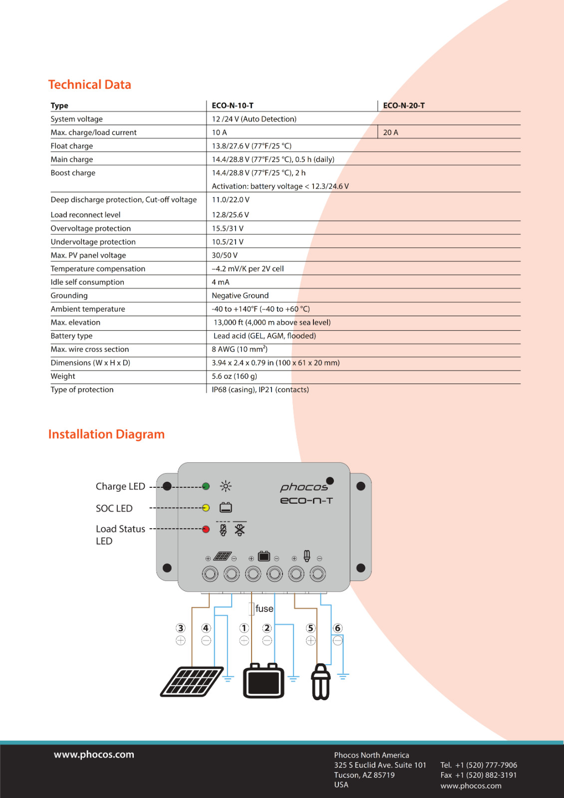 IP68 Solar charge controller Phocos ECO-N-T-10 10 A 12//24V auto-détection