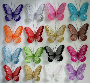 X-Large-Glitter-Jewlled-Clip-18cm-Mesh-Butterfly-Butterflies-Choose-Colours