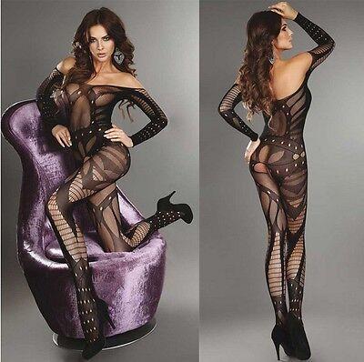 Sexy Women Fishnet Open Crotch Body Stocking Bodysuit Nightwear Lingerie Dress