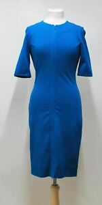 DIANE-VON-FURSTENBERG-Ladies-Teal-Short-Sleeved-Crew-Neck-Midi-Shift-Dress-UK8