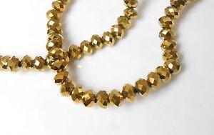 25 St. facettierte Glas Perlen in Farbe gold 4x3 mm Zwischenperlen
