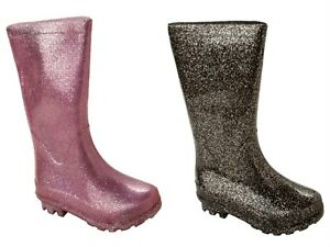 GIRLS GLITTER KNEE LENGTH WELLIES WELLINGTON RAIN SNOW BOOTS KIDS UK SIZE 13-5