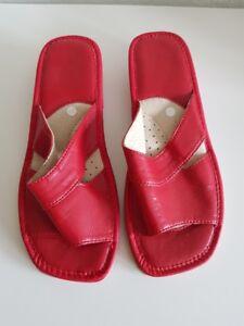 separation shoes 209cd ed425 Details zu Damen Hausschuhe Leder Pantoffeln Pantoletten Rot Gr.37