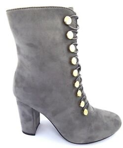 8b758016ef7 Details about womens grey faux suede block high heel ankle boots zip  fastening button detail