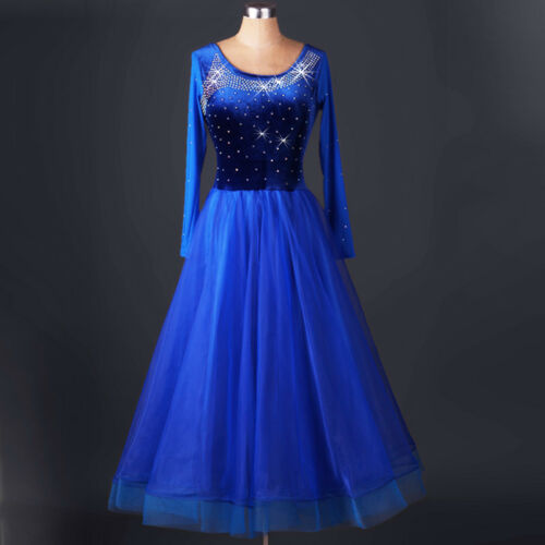 NEW Latin Ballroom Dance Dress Modern Salsa Waltz Standard Long Dress#FM169