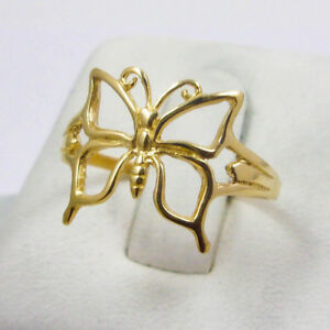 40ab44af4d6d5 Details about Solid 18K Yellow Gold Large Pierced Butterfly Ring, Sizes 3 -  9