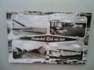 Ansichtskarte-Nordseebad-List-auf-Sylt-1961-Inselbahn-Strassenzug-Hafen-Bucht