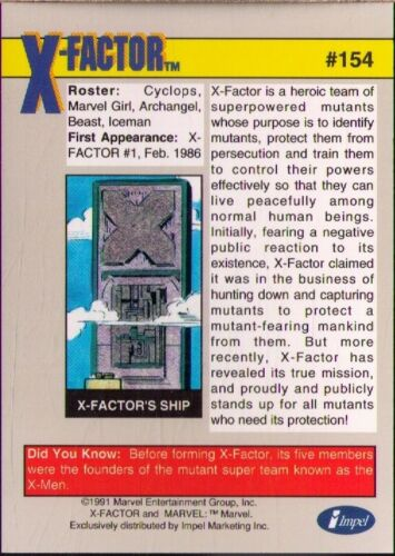 1991 Impel Marvel Universe Series 2 #154 X-Factor