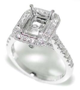 Timeless-0-70-Ct-Diamond-Halo-Semi-Mount-Setting-for-Emerald-Cut-14K-White-Gold