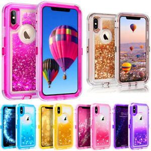 the latest 6d307 c6f01 Details about For iPhone X 10 Glitter Quicksand Liquid Clear Defender  Case(Clip Fits Otterbox)