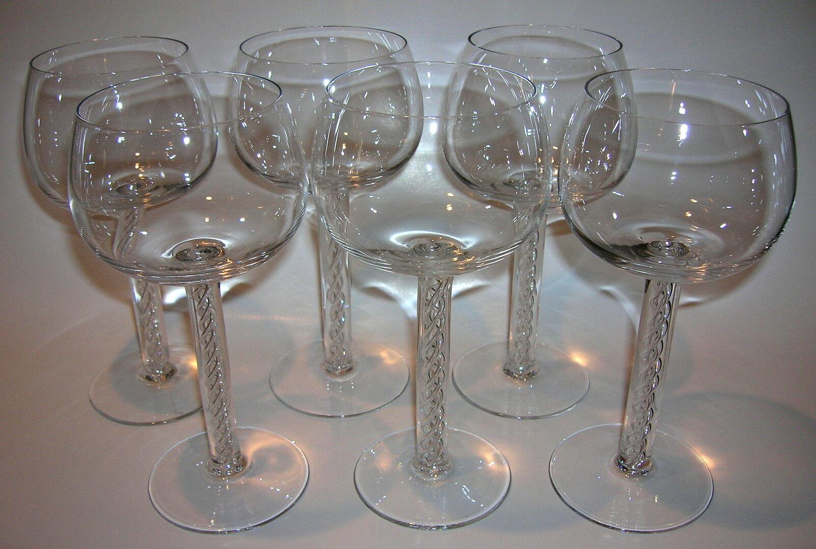6 pièces vin fadenglas avec luftspiralen