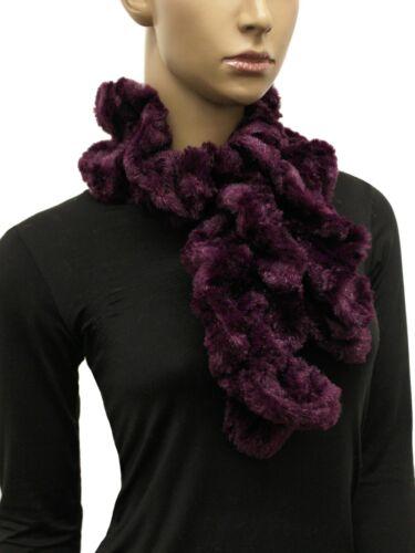 Women/'s Ruffle Faux Fur Pull-Through Scarf Suede Keyhole Scarf