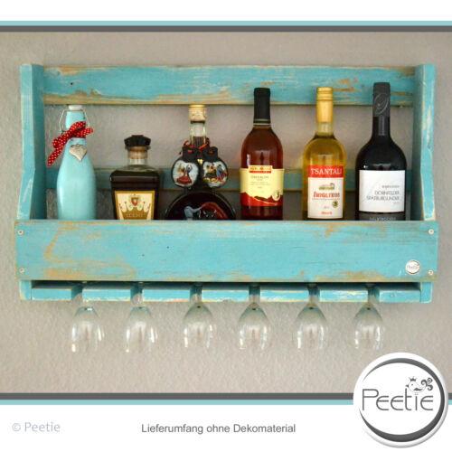 PEETIE Weinregal Shabby Vintage Style türkis Holz Glashalter Flaschenregal