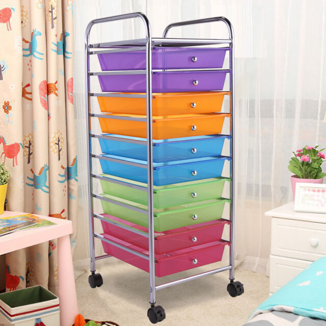 10 Drawer Rolling Storage Cart Scrapbook Paper Office School Organizer  Cabinet