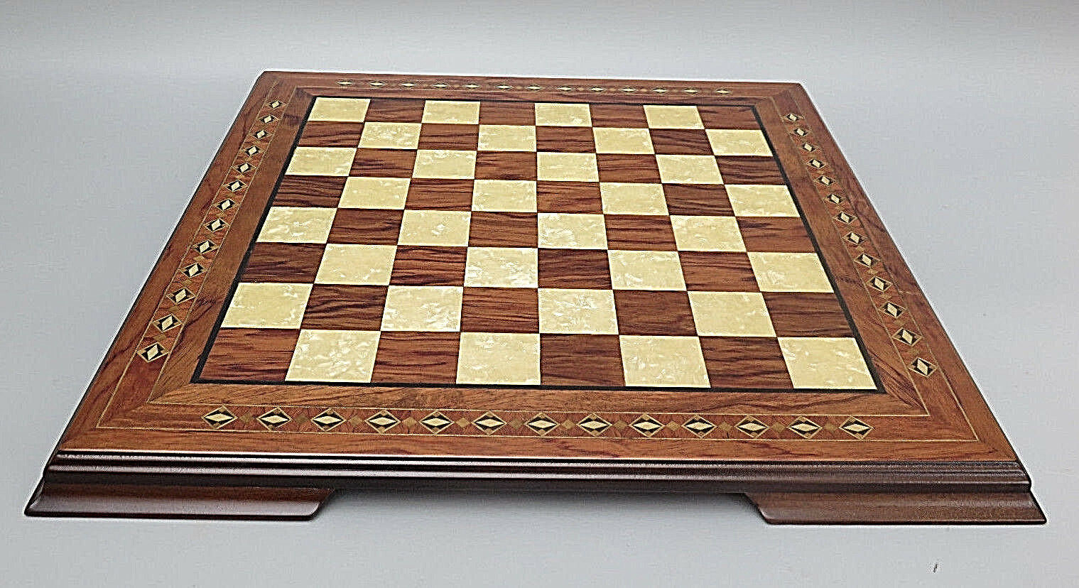 CHESS BOARD HAND CRAFTED SOLID WALNUT WOOD  HELENA  MOTHER OF PEARL 17 -2654W