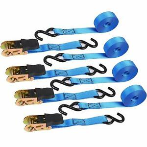 """4pc 1/"""" x 15ft Ratchet Tie DownCargo Straps Moving Hauling Truck Motorcycle"""