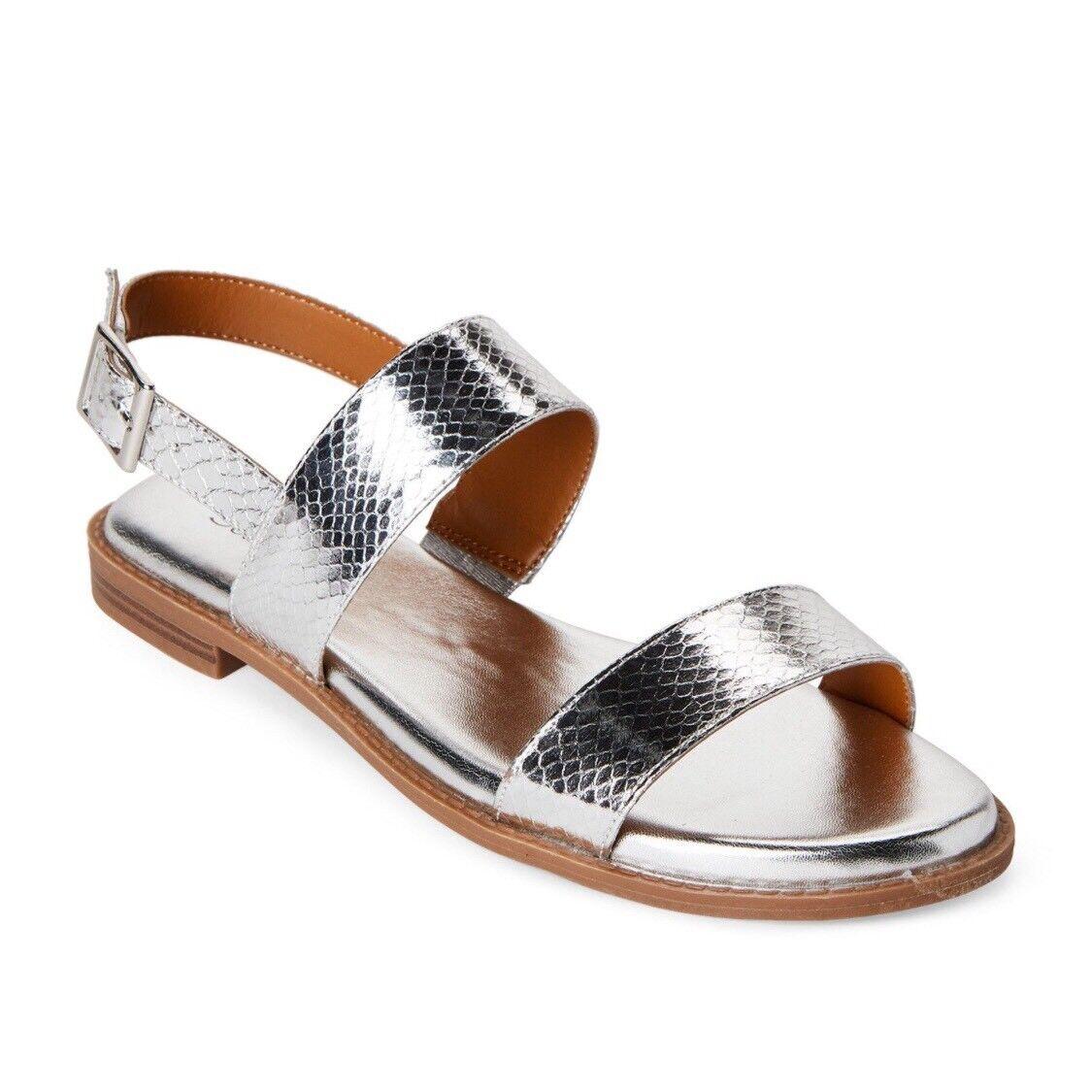 Franco Sarto Womens Velocity Flat Sandal 5M Silver Snake Metallic Cushioned NEW