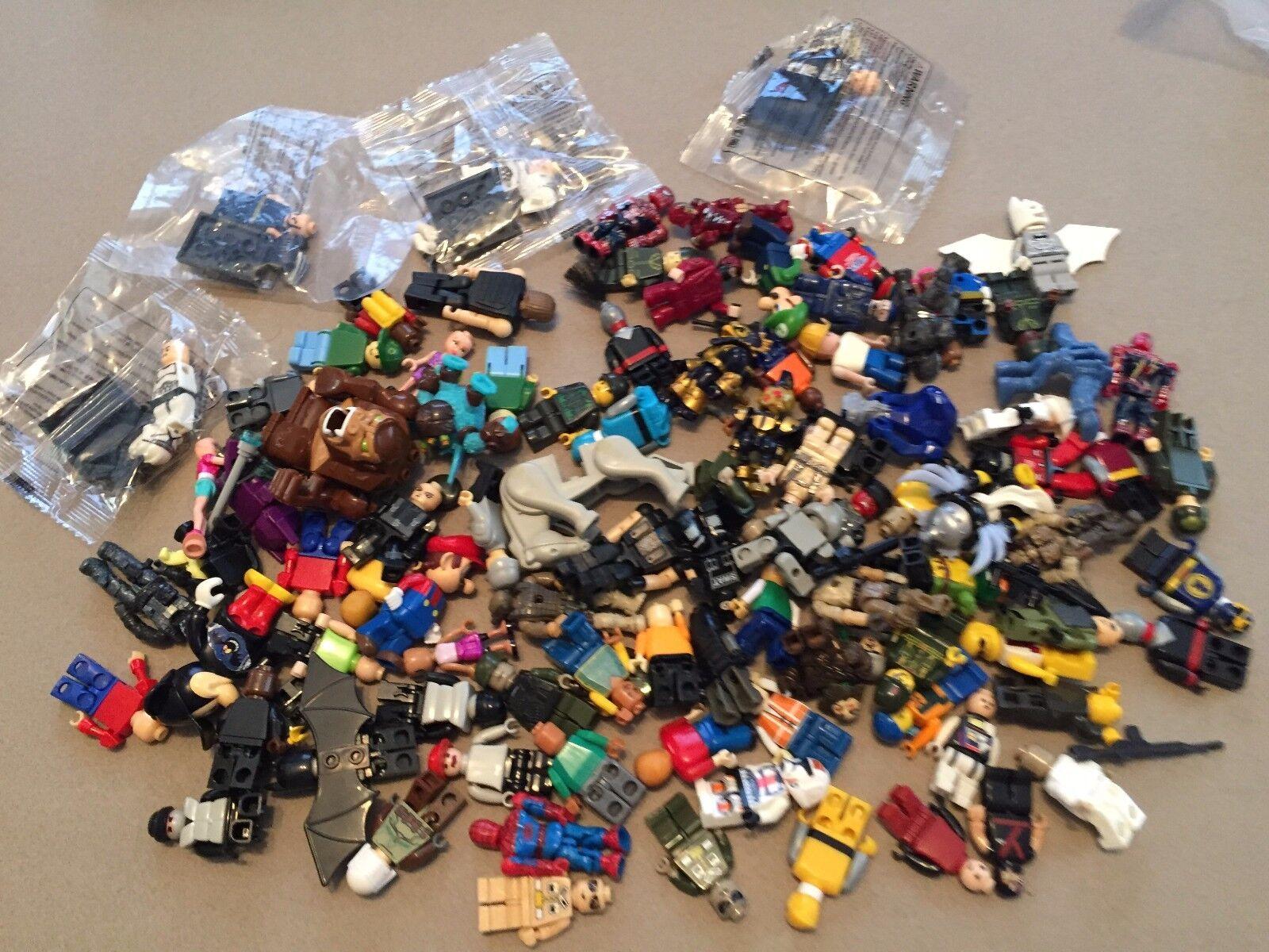 100 Non Lego Minifigures Megablok Heroes minifig lot T331