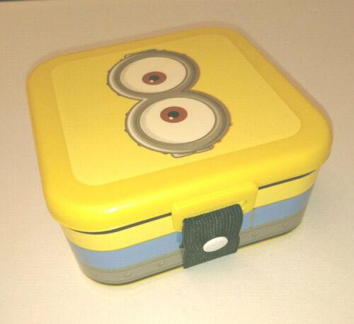 """Minions 5/"""" Square Boîte Déjeuner avec large sangle élastique en plastique jaune coins arrondis"""