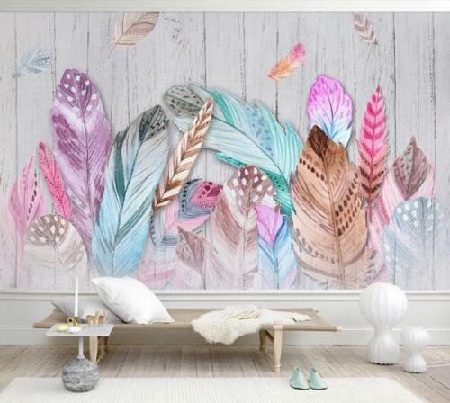 3D Colorful Feather Wallpaper Wall Mural Removable Self-adhesive Sticker 023