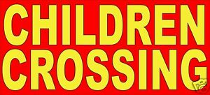 """Children Crossing Safety Sign Decal 22"""" Concession Ice Cream Food Truck Sticker"""