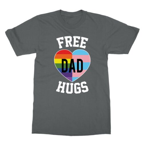 Mens Free Dad Hugs Pride Gift LGBT Rainbow Flag Family Men/'s T-Shirt