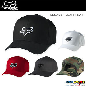 293202ca1c6628 NEW FOX LEGACY FLEXFIT HAT FLEX FIT CAP HAT MENS ADULT GUYS BLACK ...