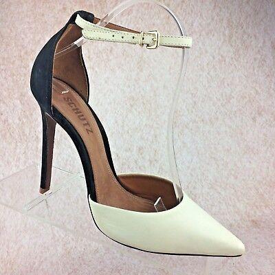 a878c76267f Schutz Black & White Leather Stiletto High Heel Ankle Strap Pointed Toe  Pumps 8M | eBay