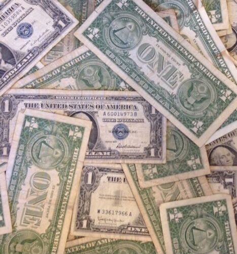 ✯ Bill Blue US Currency✯ ✯1923-1957 One Dollar Note ✯ $1 Silver Certificate VG