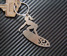 SURFER GIRL Surfboard Surf Wave Carve Keyring Keychain Key Stainless Steel