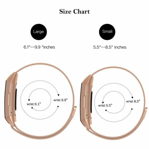 For Fitbit Charge 3 Wristband Stainless Steel Milanese Magnetic Loop Band Strap