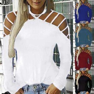Damen Sommer Oberteile Langarm T-shirt Freizeit Hemd Hohle Bluse Tunika Pullover