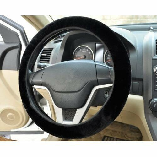 Pelosi Soffice Pelliccia Plain Volante per Auto Coprisedile Auto Lavabile-Nero O9B4