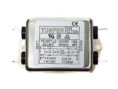 1pc EMI Filter YE10T1L2 115/250V 10A -25~+85℃ UL CSA VDE YUNPEN