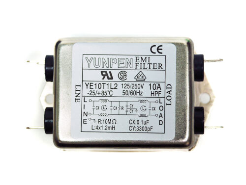 1pc EMI Filter YE10T1L2 115//250V 10A 25~+85℃ UL CSA VDE YUNPEN