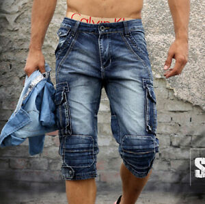 FASHION-NEW-MENS-SIZE-28-40-CARGO-CASUAL-BLUE-DENIM-POCKET-WALK-SHORTS-JEANS