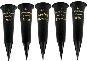 2 X IN LOVING MEMORY FLOWER VASE WITH SPIKE, MUM DAD MEMORIAL ...
