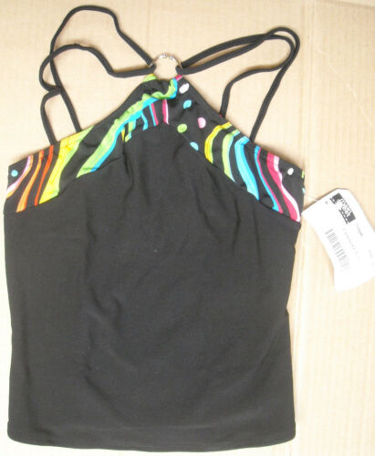 NWT JAZZ TOP MULTI COLOR BLACK CAMISOLE Double Strap