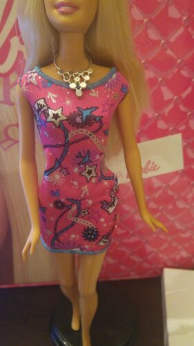 Pink Barbie doll mini dress w// blue trim