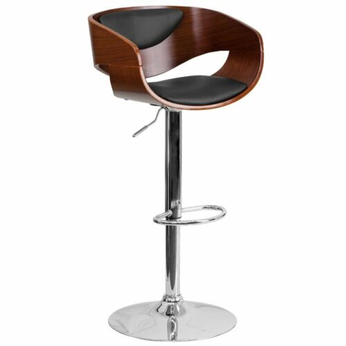 Flash Furniture Contemporary Adjustable Bar Stool in Black and Walnut