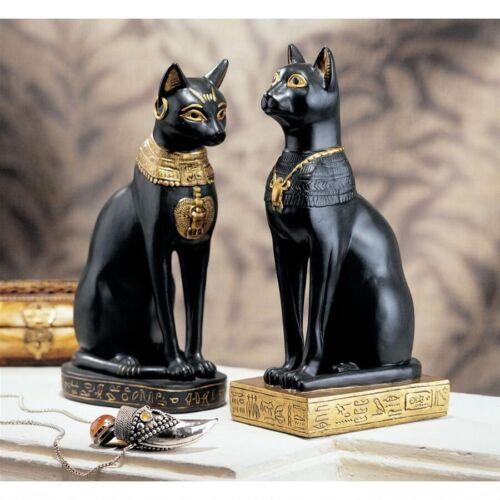 Egyptian Cat Goddess Bastet Feline Guardian of the Sun/'s Power Statue Set of 2