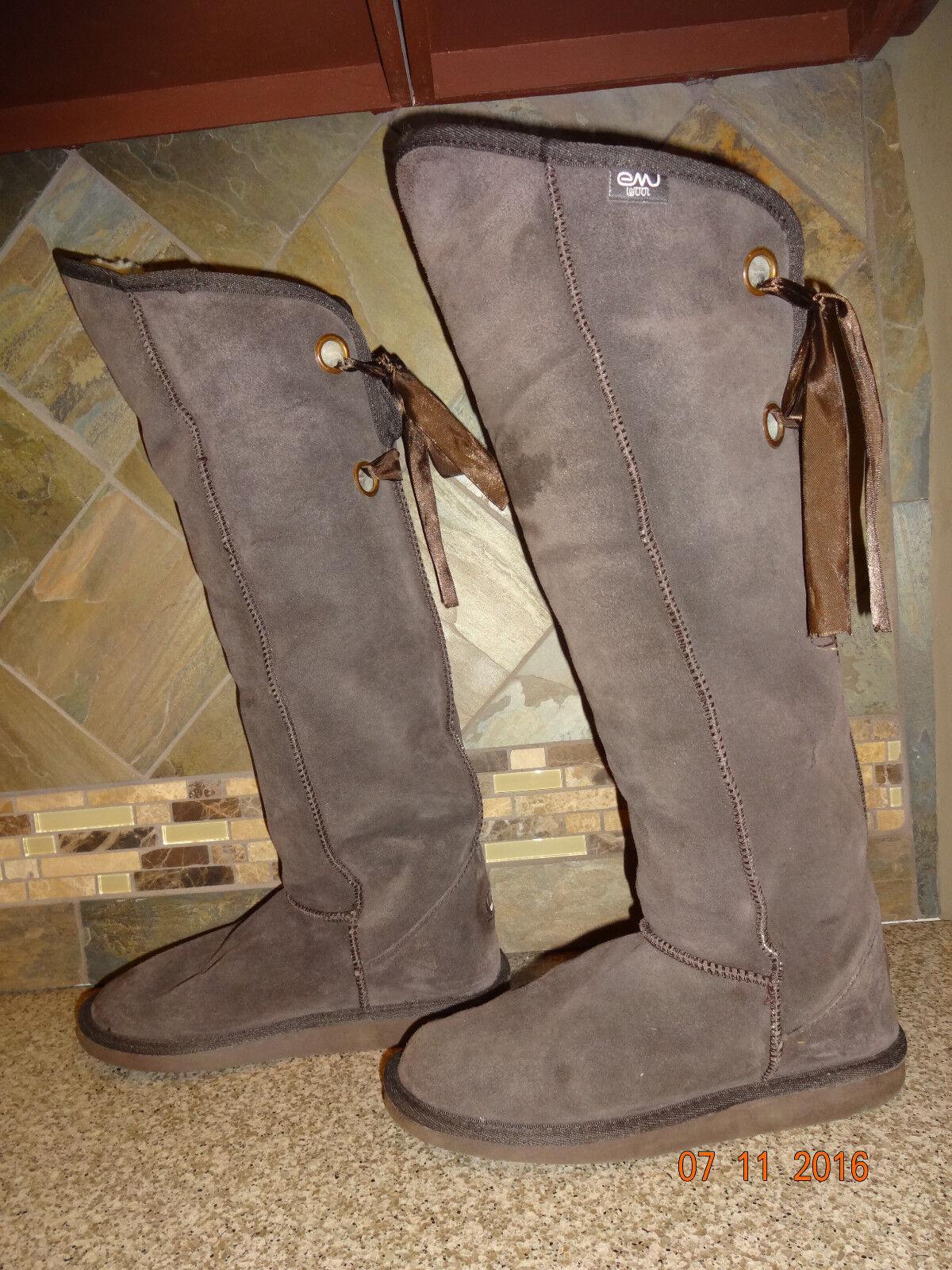 comodamente donna emu  Avoca  Sz Sz Sz 8 39 Merino Wool Lined 20.5  Tall Dark Marrone Suede stivali  vendita outlet