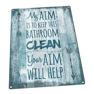 Details About Blue My Aim Is To Keep This Bathroom Clean Metal Sign Decor For Beach House