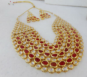 Image is loading SOUTH-INDIAN-JEWELRY-SET-GOLD-PLATED-BRIDAL-KUNDAN-  sc 1 st  eBay & SOUTH INDIAN JEWELRY SET GOLD PLATED BRIDAL KUNDAN Ruby NECKLACE ...