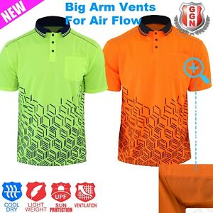 HI-VIS-Shirt-Fading-Steel-Safety-Polo-Arm-Air-Flow-Vents-Cool-Dry-SHORT