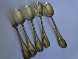 CoopéRative 4 Cuilleres A Soupe + 1 Fourchette Christofle Metal Argenté Perles RafraîChissement