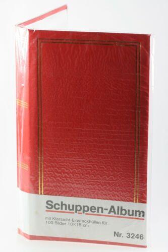 Fotoalbum Schuppenalbum rot Klarsicht-Einsteckhüllen für 100 Bilder á 10x15cm