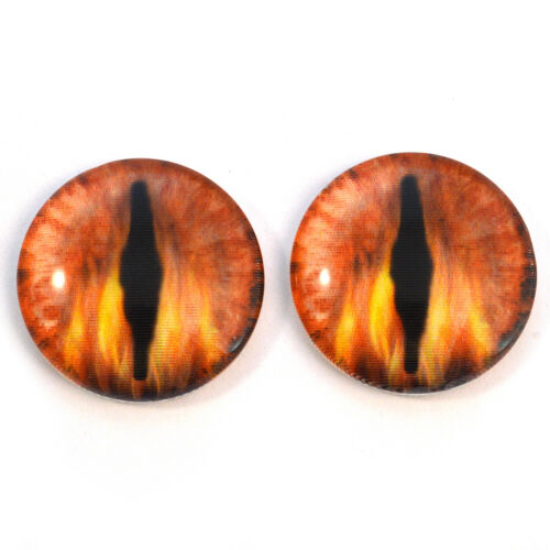 40mm Fire Dragon Animated Flames Holographic Glass Eyes Cabochons Jewelry Supply