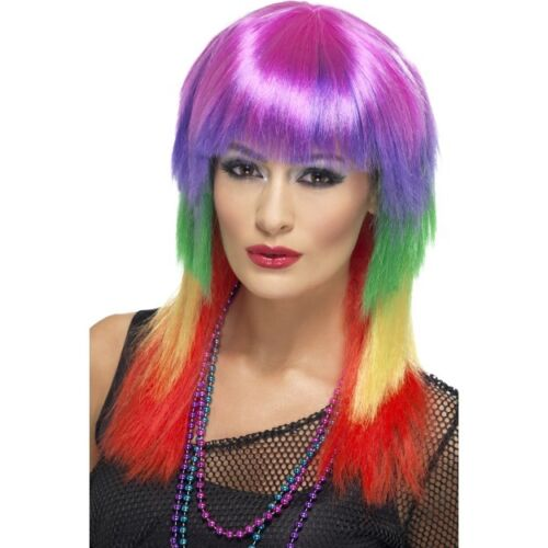 Womens Rainbow Rocker Wig Hen Fancy Dress Multicoloured Fringe Punk Mullet 80s